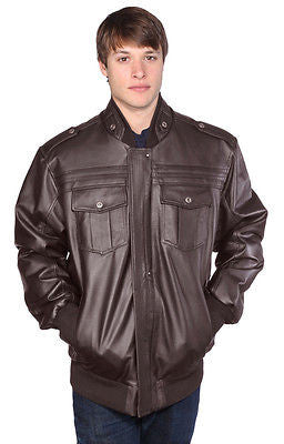 MEN'S BOMBER LEATHER JACKET WITH FUR ZIPOUT LINNING INSIDE NAPPA LEATHER BROWN