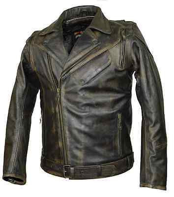 MEN'S MOTORCYCLE DISTRESSED BROWN POLICE STYLE JACKET W/2 GUN POCKETS & VENTS