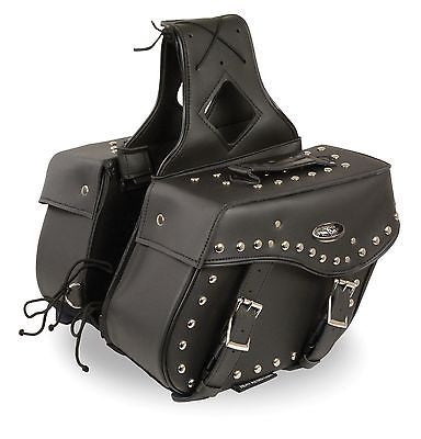 MOTORCYCLE 2PC WATERPROOF MEDIUM ZIPOFF PVC STUDDED THROWOVER SADDLEBAG NEW