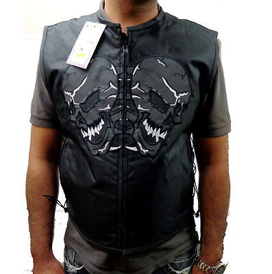 MEN'S SKULL TEXTILE VEST WITH REFLECTIVE FEATURE LIGHT WEIGHT W/GUN POCKET NEW