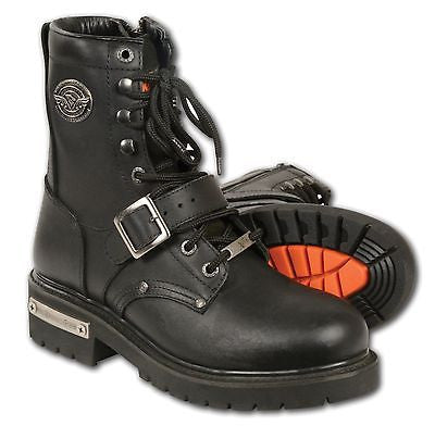 MEN'S MOTORBIKE REAL LEATHER BUCKLED & LACE TO TOE BOOT WITH SIDE ZIPPER - Leather Place