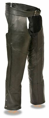 MOTORCYCLE MEN'S VENTED ZIPPER CHAP WITH STRETCH THIGS COW BUTTERSOFT NEW