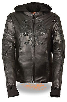 WOMEN'S MOTORCYCLE BLK LEATHER JACKET W/REFLECTIVE TRIBAL DETAIL W/2 GUNPOCKETS