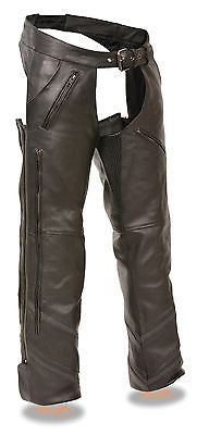 Men's Motorcycle Blk Vented leather chap with Reflective piping