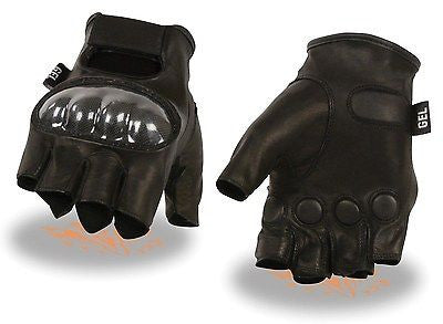 MEN'S FINGERLESS W/HARD CARBON KNUCKLES & GEL PALM VERY SOFT KNOCK OUT GLOVE