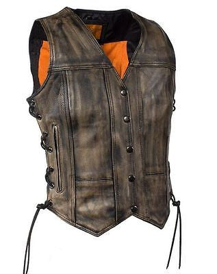 WOMEN'S MOTORCYCLE RIDERS DISTRESSED 8 POCKET LEATHER VEST WITH SIDE LACES