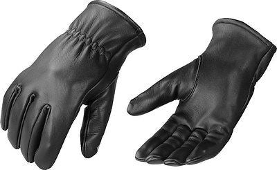 MEN'S POLICE STYLE THERMAL LINED DRIVING GLOVES REAL LEATHER W/CINCH WRIST BLK