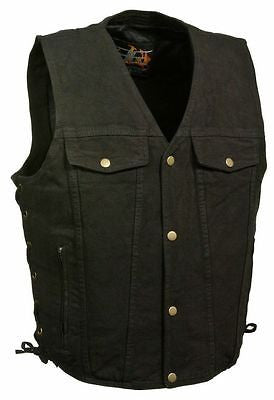 MEN'S BLK DENIM MOTORCYCLE VEST WITH SIDE LACES 2CHEST POCKETS W/GUN POCKET NEW