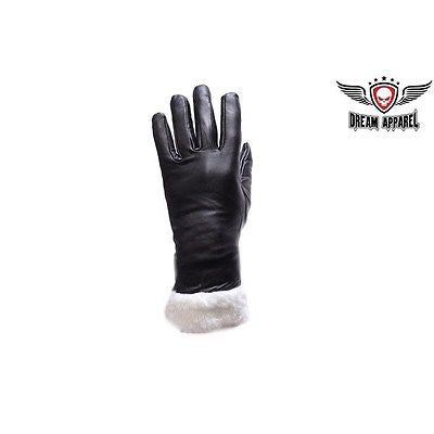LADIES BLK FULL FINGER GLOVES WITH FAUX FUR ON WRIST VERY WARM AND SOFT LEATHER