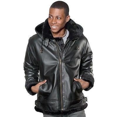 MEN'S BOMER FUR LINNING LEATHER JACKET WITH REMOVABLE HOOD VERY WARM FULLY LINED