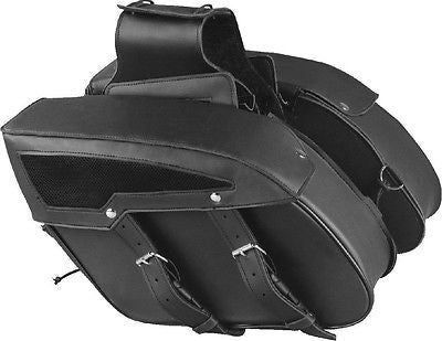 MOTORCYCLE BLACK SADDLEBAG PLAIN TWO STRAPS PVC MEDIUM ZIP-OFF BAG NEW