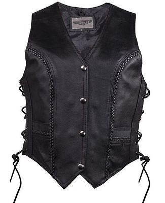 WOMEN'S MOTORCYCLE CLASSIC BRAIDED BIKER VEST WITH LACES & 2 GUN POCKETS INSIDE