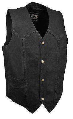 Men's Motorcycle Blk Plain Denim Vest with 2 Gun pockets inside