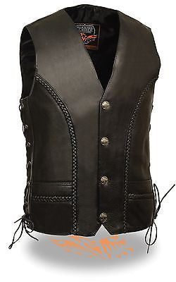 MEN'S MOTORCYCLE BRAIDED BUFFALO NICKLE BUTTONS LACE SIDE VEST