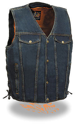 MEN'S BLUE DENIM MOTORCYCLE VEST WITH SIDE LACES 2CHEST POCKETS W/GUN POCKET NEW