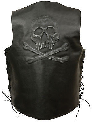 Men's Motorcycle Skull & Cross Bones Embossed back Blk leather vest