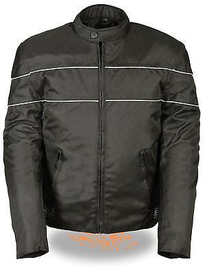 MEN'S MOTORCYCLE SCOOTER TEXTILE JACKET WITH REFLECTIVE STRIPES ZIPOUT LININGNEW