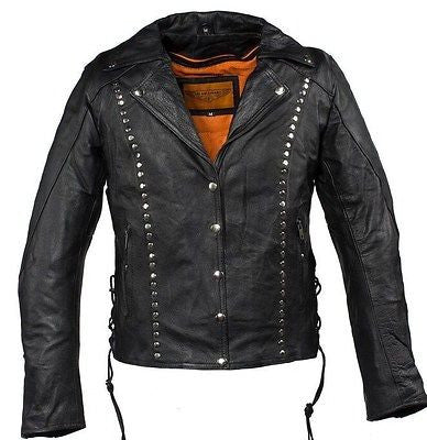 WOMEN'S MOTORCYCLE STUDDED JACKET FRONT&BACK W/2 GUNPOCKETS & SIDE LACES