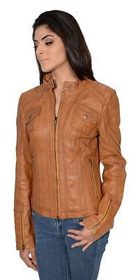 WOMEN'S RACER SHORT W/FOUR EXTERIOR POCKETS TAN COLOR VERY SOFT REAL LEATHER NEW
