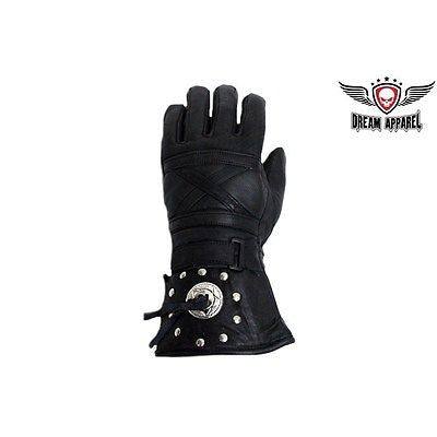 MOTORCYCLE RIDERS INSULATED GAUNTLET LINED GLOVES W/STUDS & CONCHOS VERY SOFT