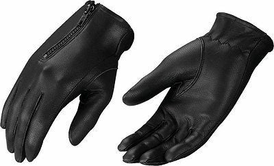 LADIES UNLINED DRIVING GLOVES VERY SOFT TOP QUALITY LEATHER W/ZIPPER BLACK COLOR