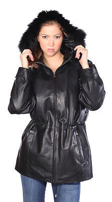 WOMEN'S MID-LENGTH PARKA GENIUNE LEATHER REMOVABLE LINING W/FAUX FUR TRIMMED HUD