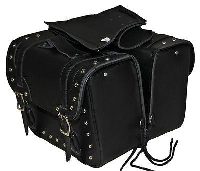 Waterproof Motorcycle Luggage Saddlebag Black Leather PVC Slanted