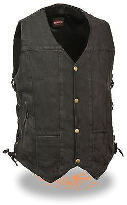 MEN'S 10 POCKET BLK DENIM MOTORCYCLE VEST WITH SIDE LACES