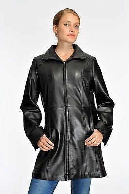 WOMEN'S LONG PARKA BUTTER SOFT LAMB SWING LEATHER COAT WITH 2 POCKETS BIG CUT
