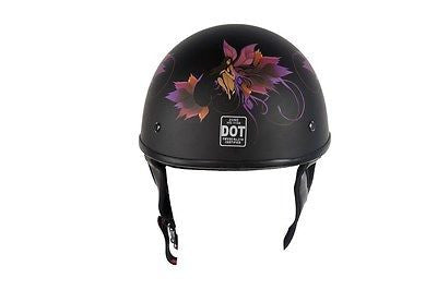 MOTORCYCLE FLAT DOT APPROVED BLK FINISH W/FAIRY & TRIBAL FLOWERS GRAPHIC HELMET