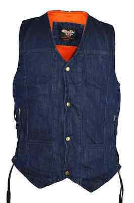 MEN'S 10 POCKET BLUE DENIM MOTORCYCLE VEST WITH 2 GUN POCKETS
