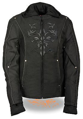 WOMEN'S RIDING BLK TEXTILE JACKET W/REFLECTIVE TRIBAL DETAIL W/REMOVABLE FLEECE