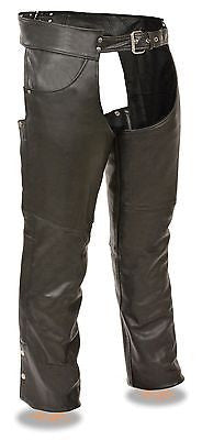 Motorcycle Men's Blk Classic Leather Chap with Jean pockets