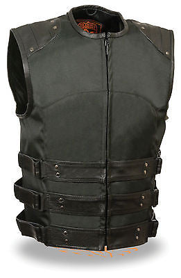 MEN'S MOTORCYCLE ASSAULT TEXTILE SWAT TACTICAL STYLE W/LEATHER TRIM & GUNPOCKET