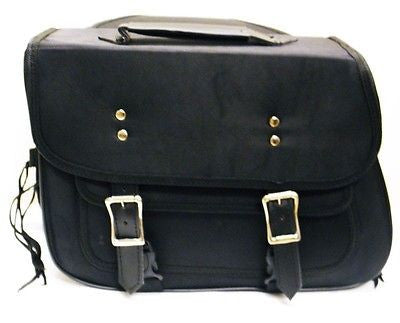 MOTORCYCLE BLACK SADDLEBAG PLAIN TWO STRAP SIZE MEDIUM ZIP OFF BAG 15.5x11.5x5.5