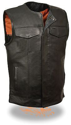 MEN'S MOTORCYCLE SON OF ANARCHY LEATHER COLLARLESS VEST 2 GUN POCKETS W/ZIPPER