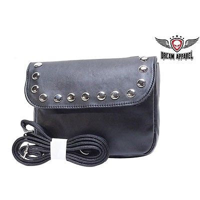 MOTORCYLE WOMEN'S GENUINE LEATHER SHOULDER STRAP PURSE BAG WITH STUDS NEW