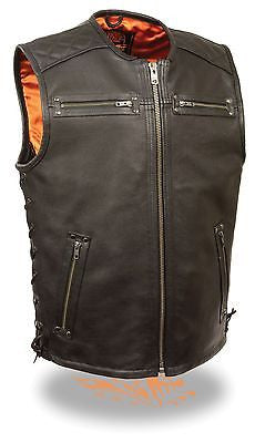 Mens Motorcycle Milwaukee updated collarless quilted shoulder cow leather vest