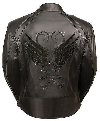 WOMEN'S MOTORCYCLE RIDING BLK LEATHER JACKET W/ STUD & WINGS AND 2 GUNPOCKETS