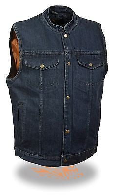 MEN'S SON OF ANARCHY BLUE DENIM MOTORCYCLE VEST 1 GUN POCKET INSIDE