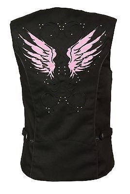 WOMEN'S MOTORCYCLE RIDING PINK TEXTILE VEST W/ STUD & WINGS DETAILING LIGHTWEIGH