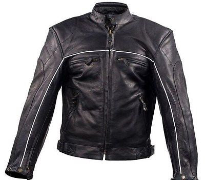 Men's Motorcycle High Visibility Scoter leather jacket very soft leather