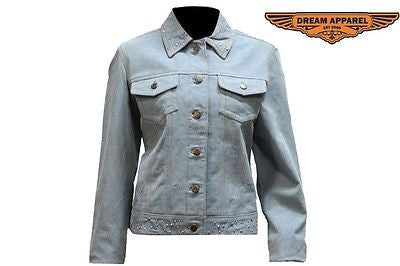 WOMEN'S RIDERS MOTORCYCLE JEAN JACKET WITH STONES DENIM LOOK GENUINE LEATHER