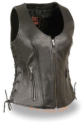 WOMEN'S MOTORCYCLRIDERS BUTTERSOFT BLK LEATHER VEST W/SIDE LACES W/2 GUN POCKETS