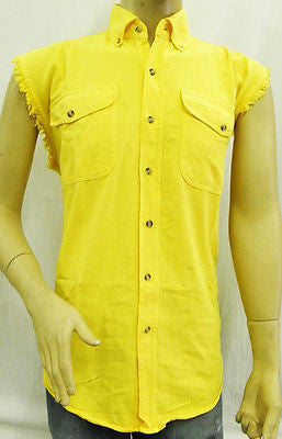 Men's Motorcycle Cotton yellow cut off shirt with fryed Sleeves