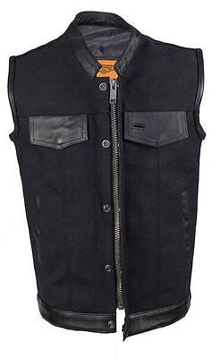 MEN'S SON OF ANARCHY MOTORCYCLE CANVAS VEST WITH LEATHER TRIM TWO GUN POCKETS