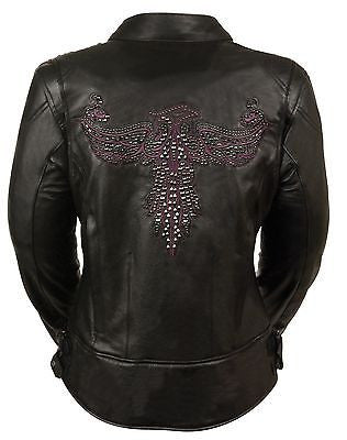 WOMEN'S MOTORCYCLE RIDING PURPLE LEATHER JACKET W/PHOENIX STUDDING EMBROIDERY