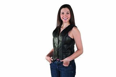 MOTORCYCLE MOTORBIKE 5 POCKET LADIES BRAIDED LEATHER VEST W/1 GUN POCKET INSIDE