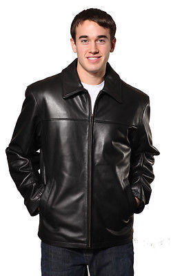 Men's Plain traditional zipper front leather jacket with 2 pockets butter soft leather