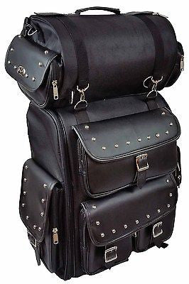 MOTORCYCLE LARGE PVC STUDDED SISSY TRAVEL BAR BAG TRAVEL LUGGAGE BAG W/RAINCOVER